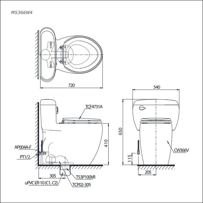 Bàn cầu nắp rửa điện tử TOTO MS366W4