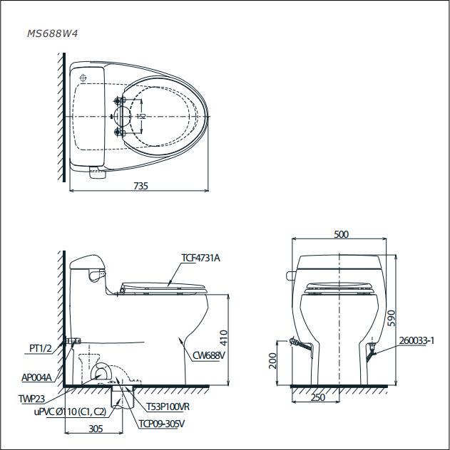 Bàn cầu TOTO nắp rửa điện tử MS688W4