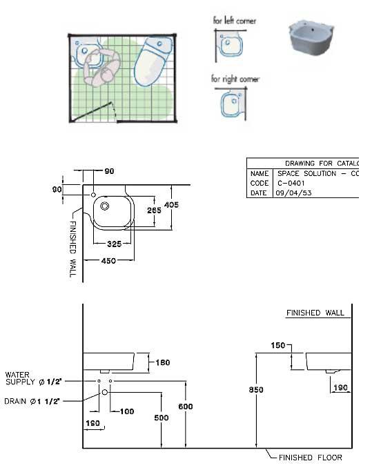 Chậu lavabo góc treo tường COTTO C04017