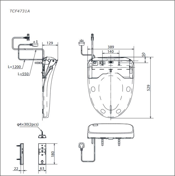 Nắp rửa bồn cầu điện tử TOTO TCF4731A