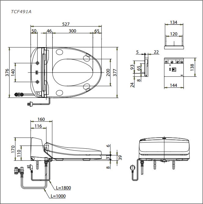 Nắp rửa bồn cầu điện tử TOTO TCF491A