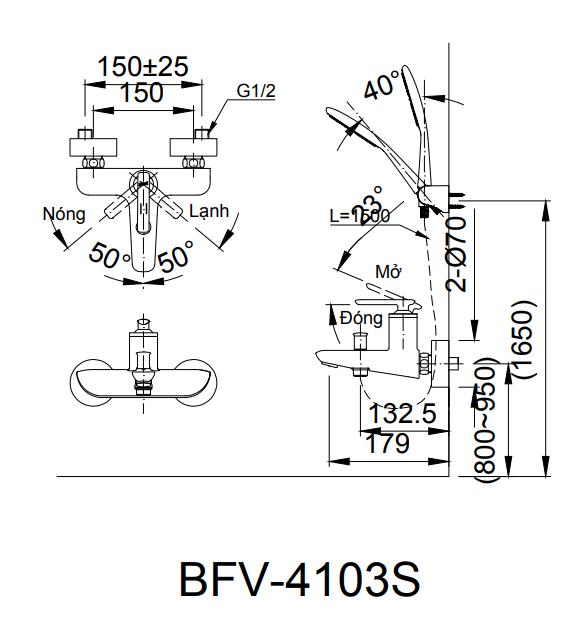 Sen tắm nóng lạnh Inax BFV-4103S