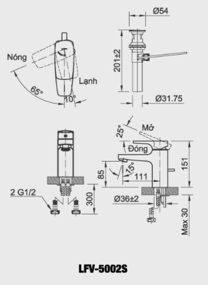 Vòi rửa Lavabo nóng lạnh Inax LFV-5002S