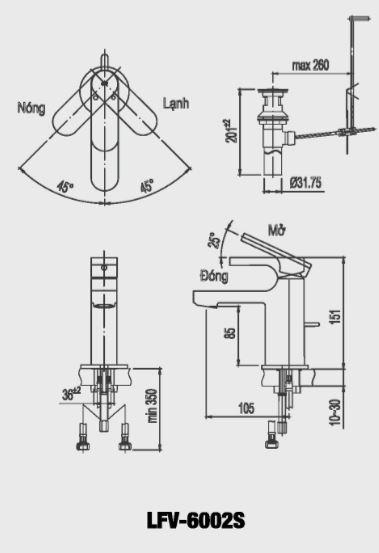Vòi rửa lavabo nóng lạnh Inax LFV-6002S