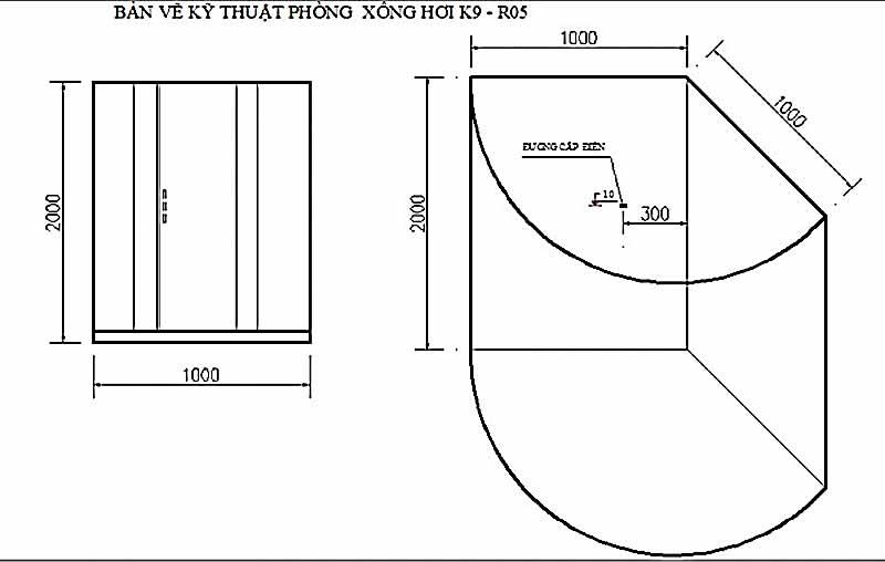 Bản vẽ kỹ thuật lắp đặt Phòng xông hơi Govern K9-R05
