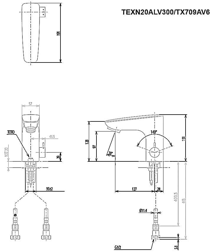 Vòi cảm ứng nhiệt độ ToTo TEXN20ALV300/TX709AV6 - Bản vẽ kỹ thuật
