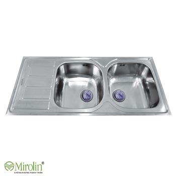 Chậu rửa bát inox 304 Mirolin MT1200-2B1D/L