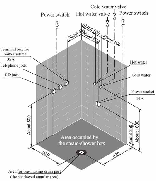 Bản vẽ kỹ thuật lắp đặt phòng xông hơi Appollo A-0812 -2