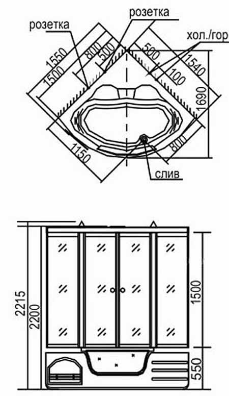 Bản vẽ kỹ thuật lắp đặt phòng xông hơi Appollo A-0818S