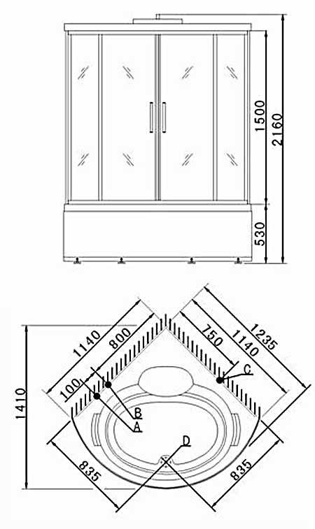 Bản vẽ kỹ thuật lắp đặt Phòng tắm massage Appollo TS-1235