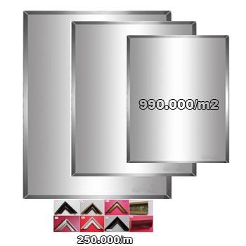 Gương theo yêu cầu kích thước (Dày : 5 mm, Phôi Bỉ, Tráng 03 lớp chống mốc)