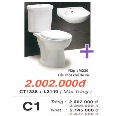 Bệt 2 khối Caesar CT1338 + chậu L2140