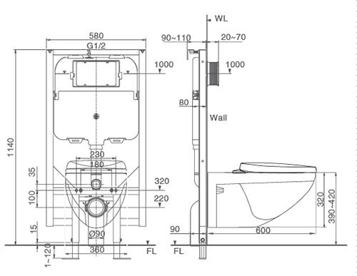 Bản vẽ kỹ thuật bồn cầu két âm tường Inax C-23PVN
