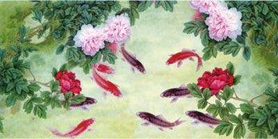 Gạch tranh trang trí tranh suối cá hồng