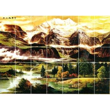 Gạch tranh trang trí tranh núi non