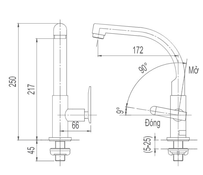 Vòi rửa bát 1 đường lạnh Inax SFV-29
