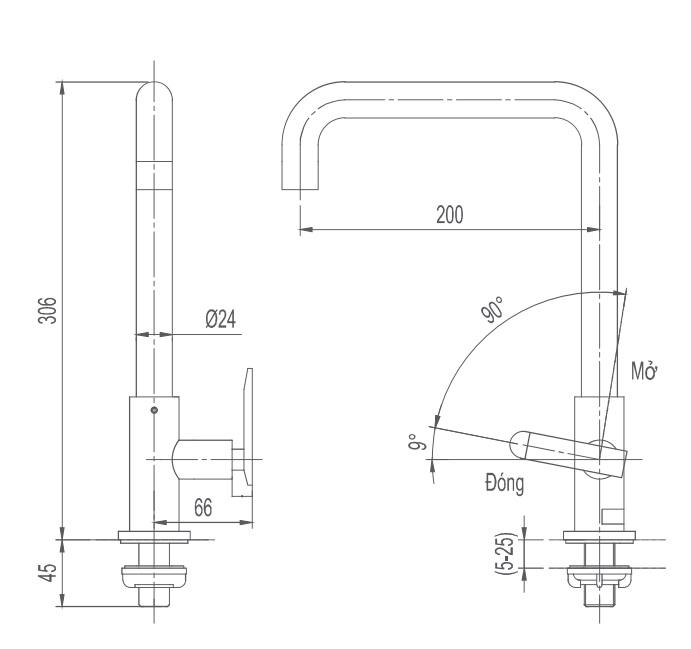 Vòi rửa bát 1 đường lạnh Inax SFV-30