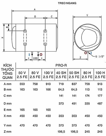 ban ve lap dat ariston 40 50 80 100 ngang Bình nóng lạnh Ariston Pro 50L ngang (Titanium Chống giật)