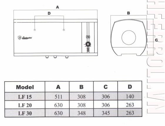 bản vẽ kỹ thuật Bình nóng lạnh Lamborghini Forza LF-T30