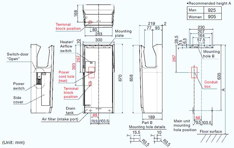 Bản vẽ lắp kỹ thuật sấy tay Mitsubishi JT-SB216JSH-W
