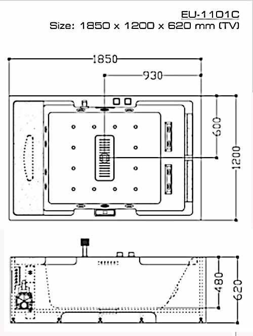 Bản vẽ kỹ thuật lắp đặt bồn tắm massage Euroking EU-1101C