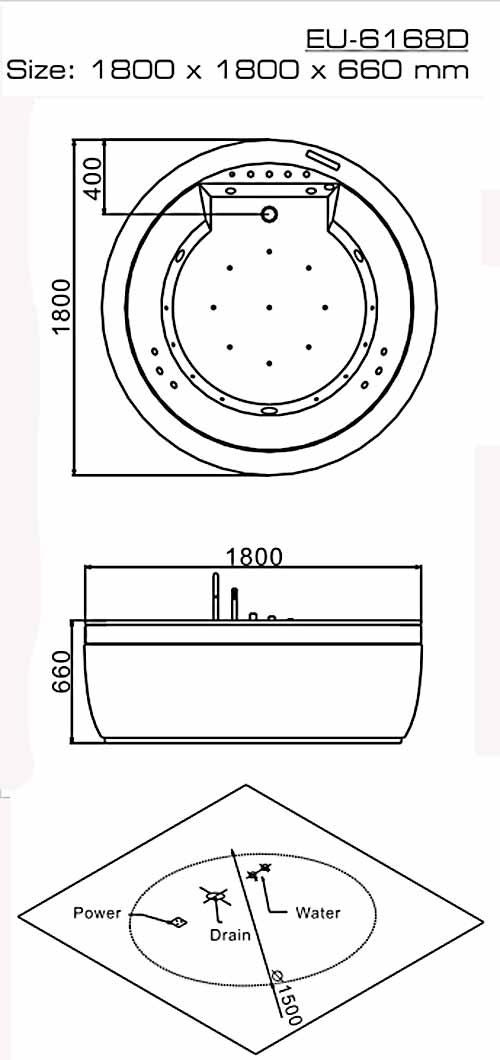 Bản vẽ kỹ thuật lắp đặt bồn tắm massage Euroking EU-6168D