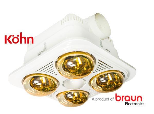 Đèn sưởi nhà tắm âm trần Braun BU04G