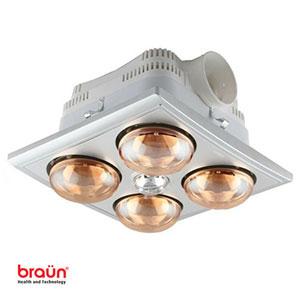Đèn sưởi nhà tắm 4 bóng vàng Braun BU04G