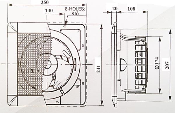 Quạt hút thông gió âm trần Mitsubishi EX-15SC6T