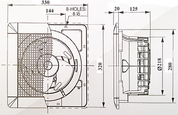 Quạt hút thông gió âm trần Mitsubishi EX-20SC5T