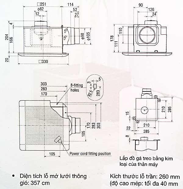 Quạt hút thông gió âm trần Mitsubishi VD-15ZP4T6