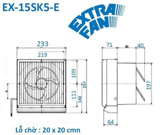 Quạt hút thông gió mini âm tường Mitsubishi EX-15SK5-E