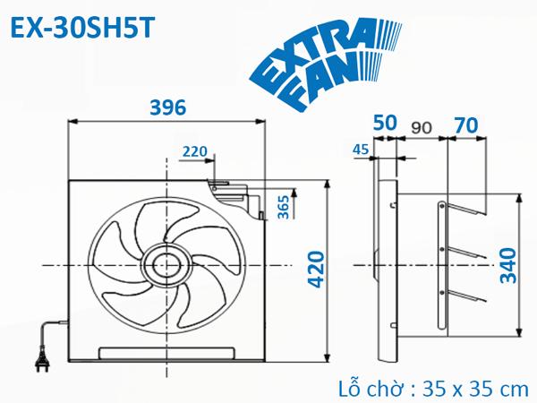 Quạt hút thông gió âm tường Mitsubishi EX-30SH5T