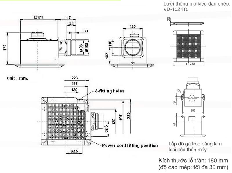 Quạt hút thông gió âm trần Mitsubishi VD-10Z4T6/10Z4T5
