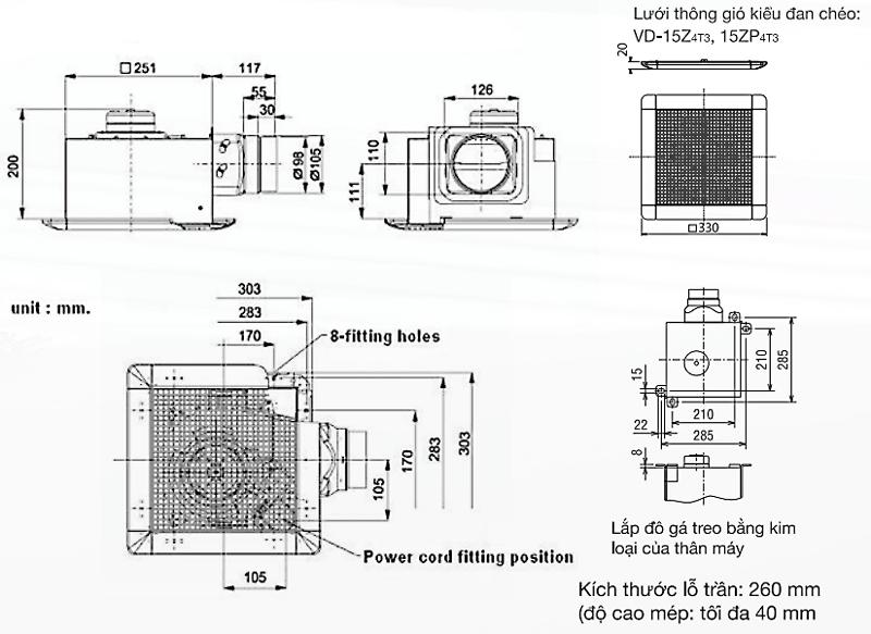 Bản vẽ kỹ thuật quạt hút gió âm trần Mitsubishi VD-15ZP4T5+VD-15Z4T5