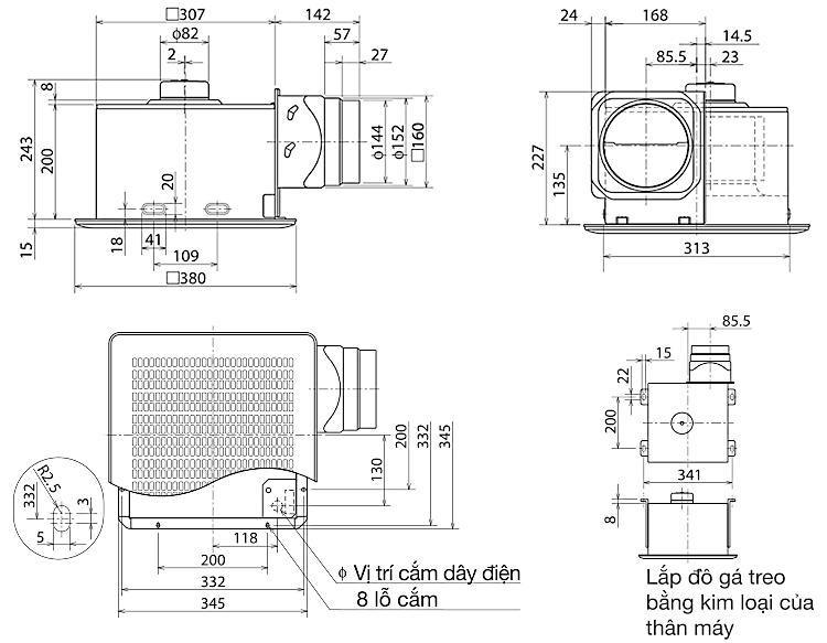 Quạt hút thông gió âm trần Mitsubishi VD-20ZP4T3
