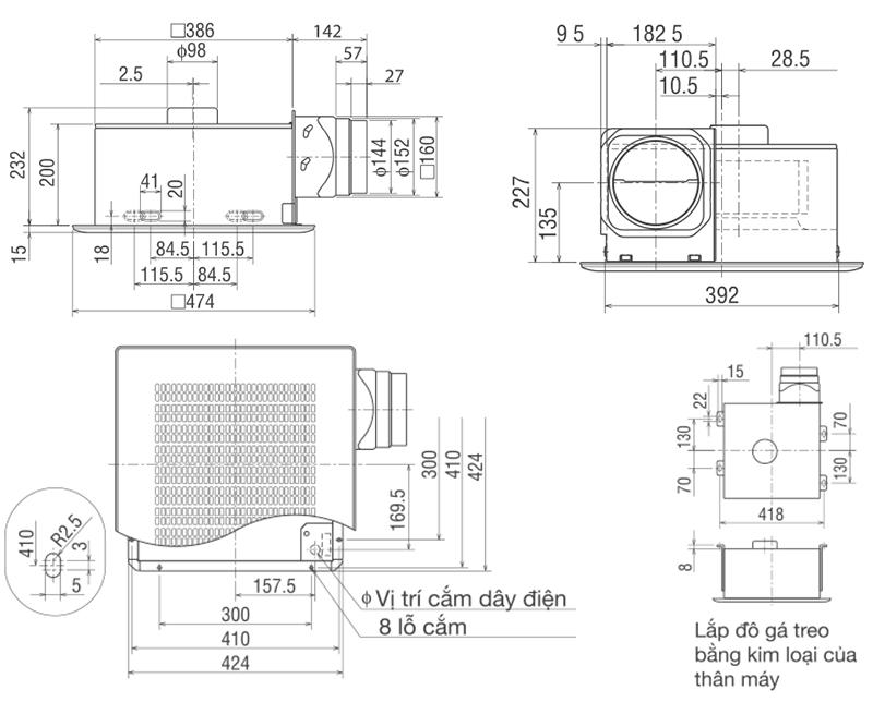 Bản vẽ kỹ thuật quạt hút gió âm trần Mitsubishi VD-23Z4T3