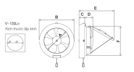 Quạt hút thông gió ốp vách kính Mitsubishi V-15SL3T
