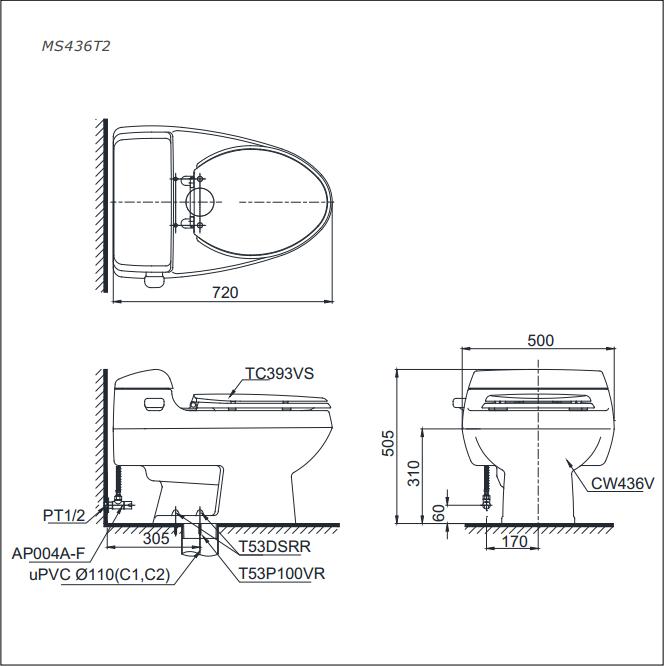 Bàn cầu TOTO 1 khối MS436T2