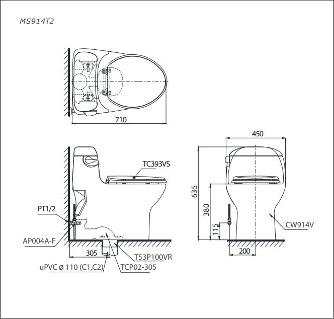 Bàn cầu TOTO 1 khối MS914T2