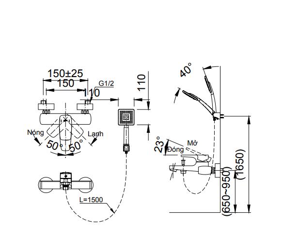 Sen tắm nóng lạnh Inax BFV-5003S-5C