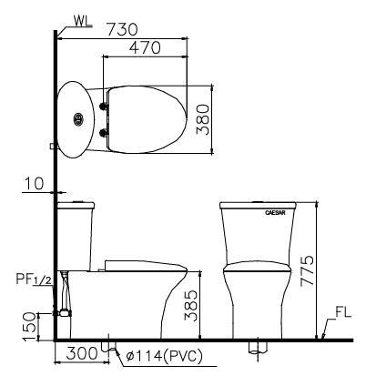 Bản vẽ kỹ thuật bàn cầu nắp điện tử Caesar CD1341 + TAF200H