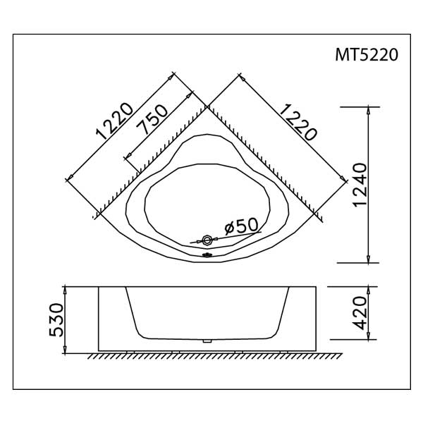 Bản vẽ kỹ thuật lắp đặt bồn tắm Caesar AT5220