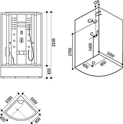 Bản vẽ kỹ thuật lắp đặt Phòng xông hơi Govern JS-103
