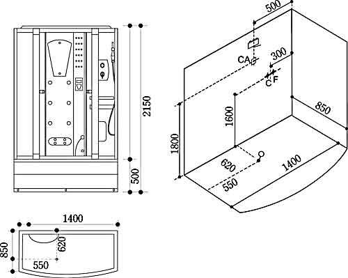 Bản vẽ kỹ thuật lắp đặt Phòng xông hơi Govern JS-106