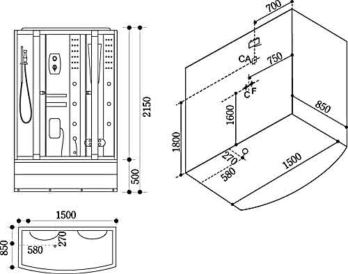Bản vẽ kỹ thuật lắp đặt Phòng xông hơi Govern JS-107