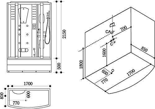 Bản vẽ kỹ thuật lắp đặt Phòng xông hơi Govern JS-108