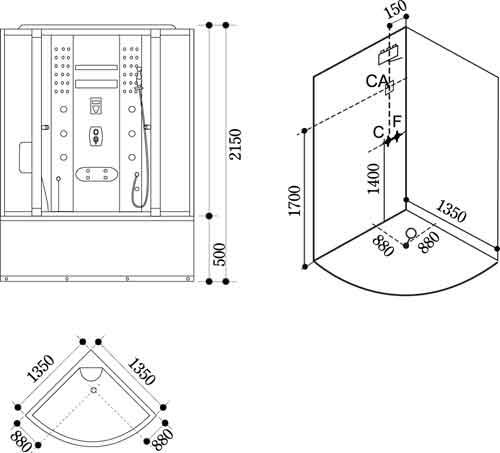 Bản vẽ kỹ thuật lắp đặt Phòng xông hơi Govern JS-109