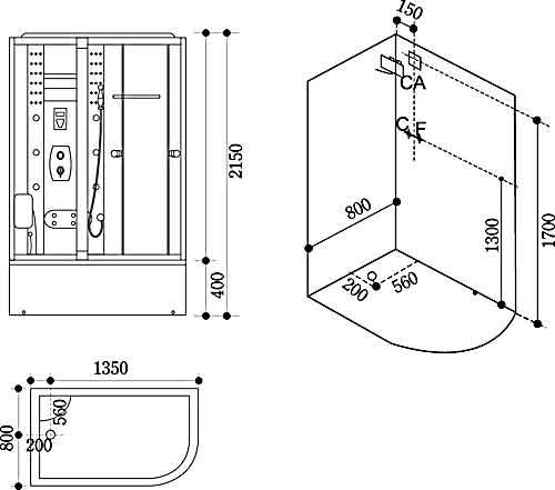 Bản vẽ kỹ thuật lắp đặt Phòng xông hơi Govern JS-111