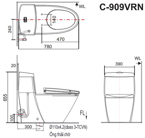 Bản vẽ kỹ thuật bồn cầu 1 khối Inax GC-909VRN